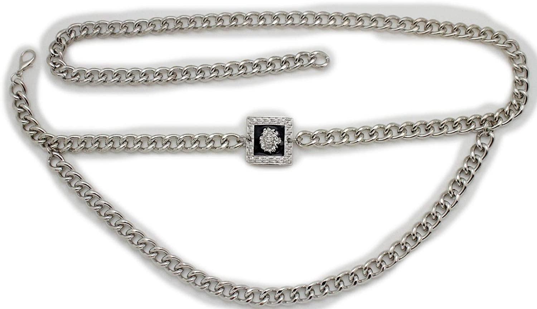 TFJ Women Fashion Belt Hip Waist Silver Metal Chain Wave Strands Lion Charm Buckle M L XL