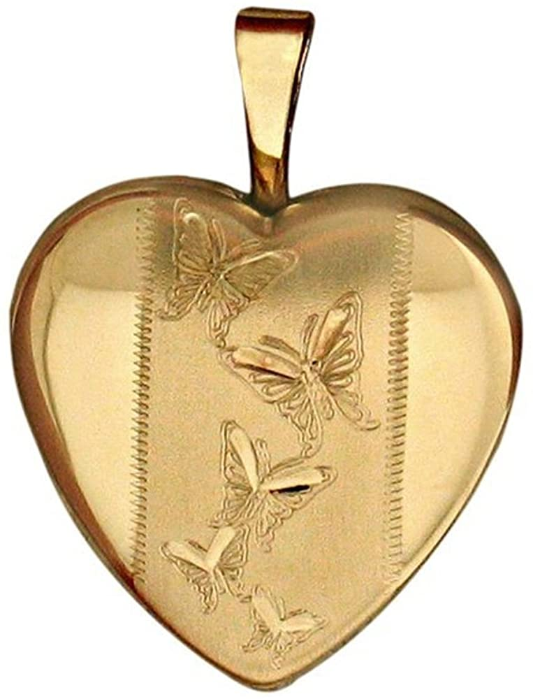 PicturesOnGold.com 14K Gold Filled Yellow Butterfly Heart Locket 2/3 Inch X 2/3 Inch