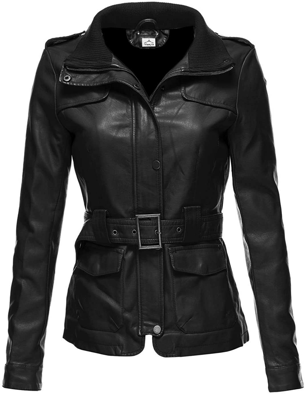 VearFit Womens Utiline Real Leather Trench Coat Blazar Missy Regular Plus Size