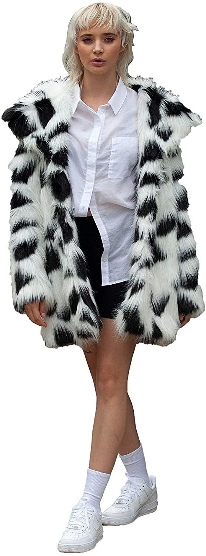 SHACI Womens Faux Fur Coat White/Black
