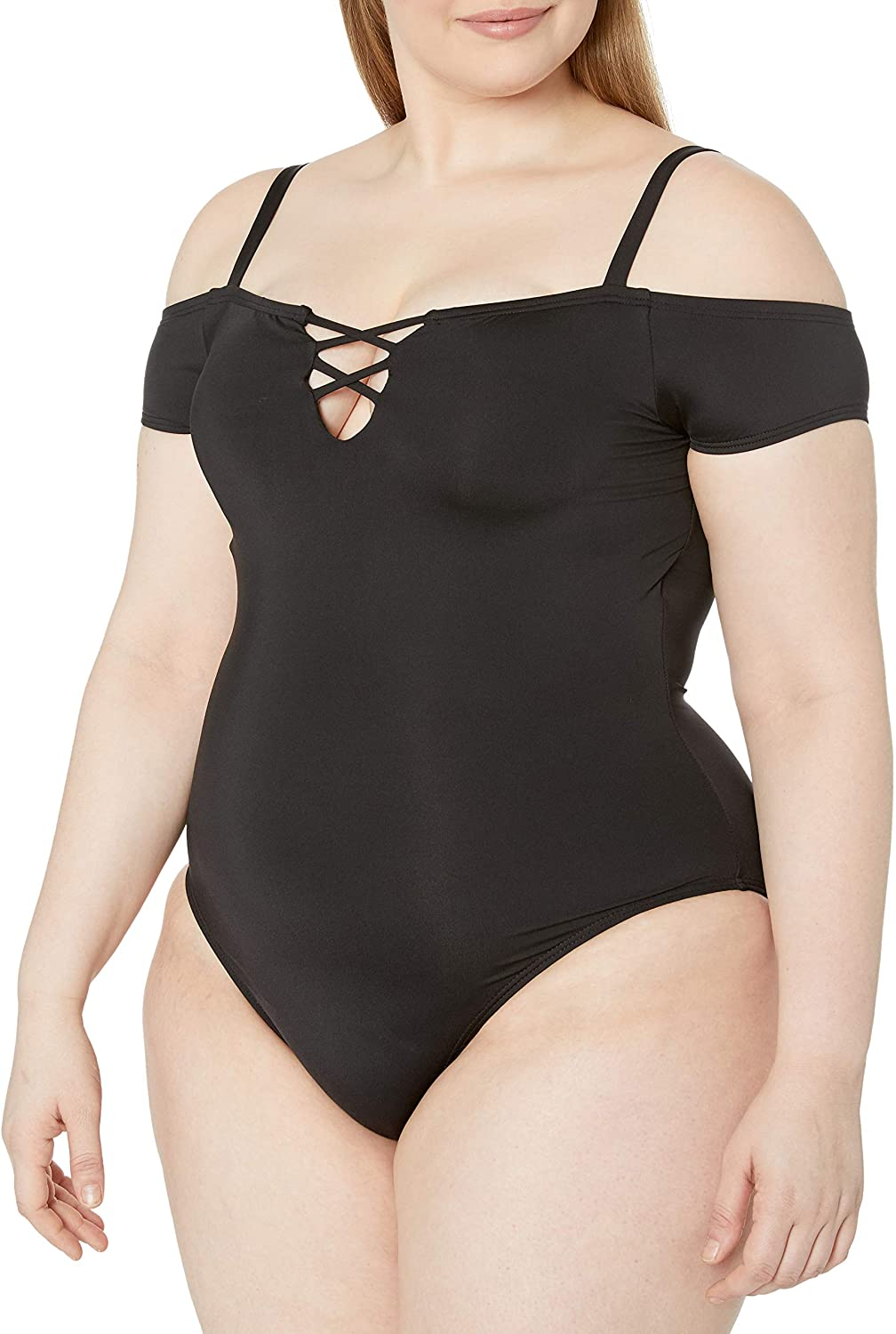 Kenneth Cole REACTION Womens Plus-Size Garden Groove Off The Shoulder One Piece Swimsuit