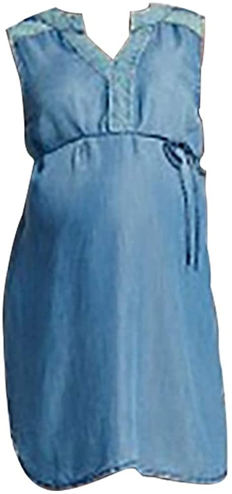 Liz Lange for Target Maternity Dress Medium Denim Blue Fabric Adjustable Tie