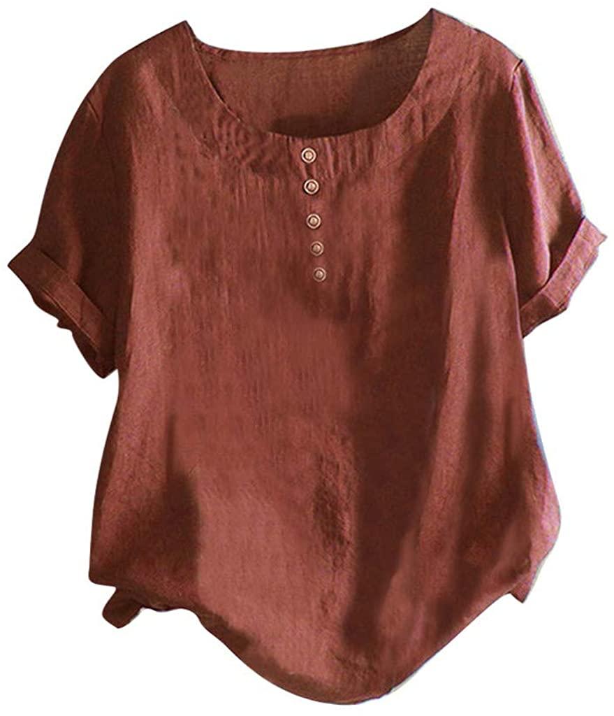 LEKODE Women T-Shirt Fashion Solid Cotton Linen O-Neck Short Sleeve Wild Tee