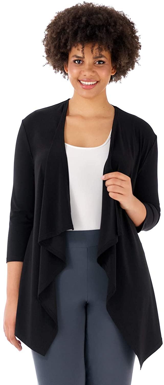 Rekucci Curvy Woman Essential Plus Size Soft Knit Throw Over Jacket