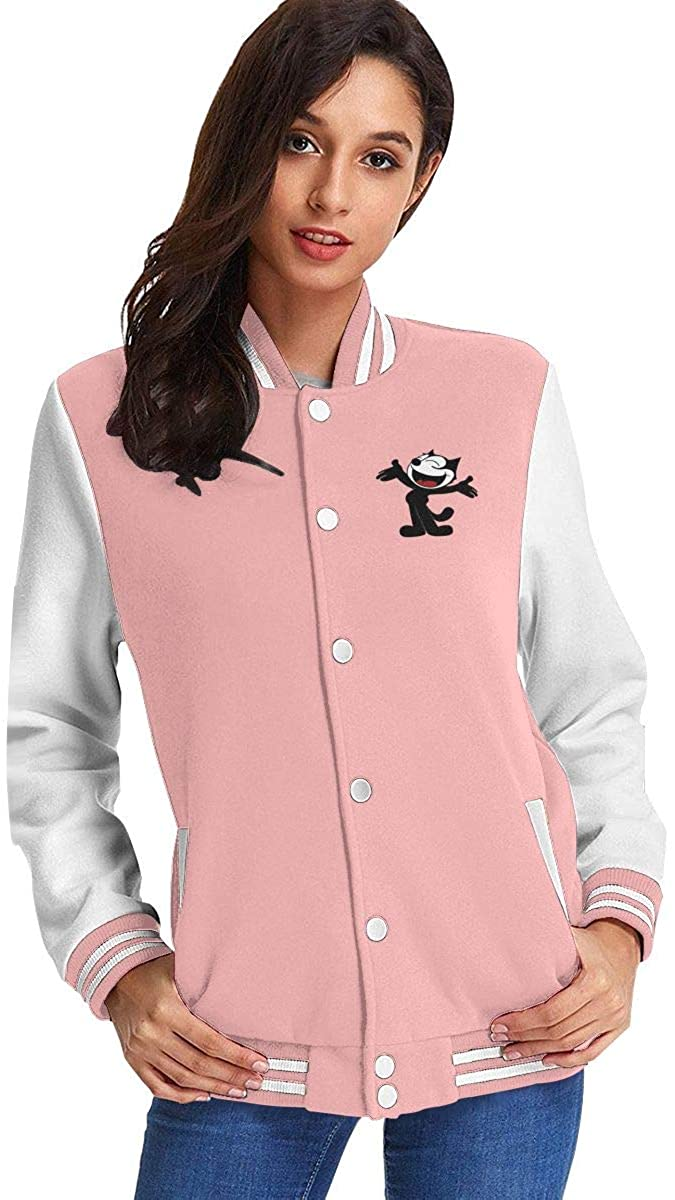 Felix The Cat Women's Fashion Stand Collar Casual Jacket Baseball Button Jacket Coat Sweater