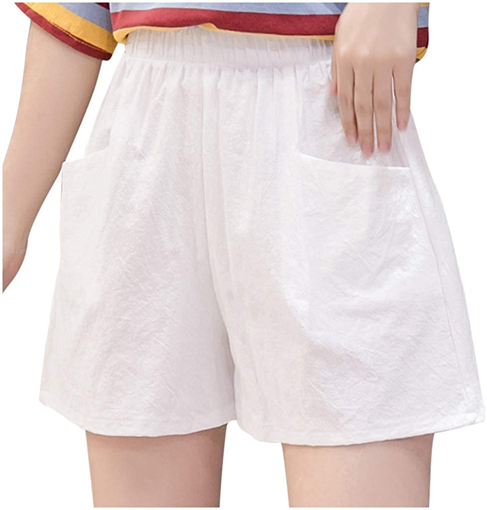 B/N Women's Shorts Elastic High waistd with Pockets Loose Casual Thin Wide Leg Linen Shorts