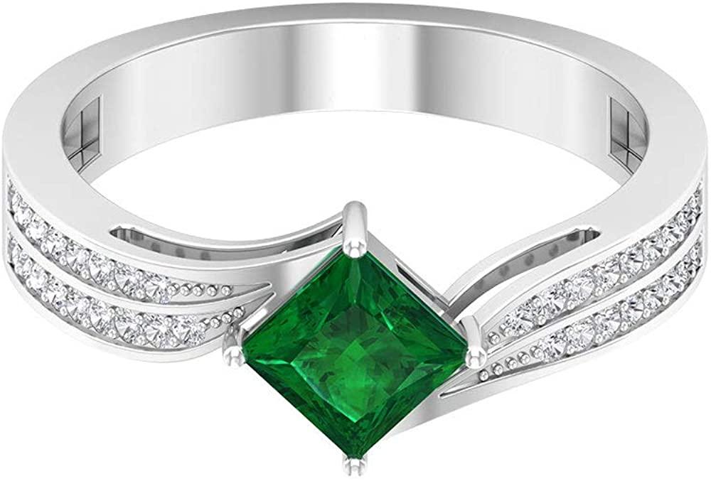 0.55 Ct SGL Certified Emerald Solitaire Wedding Ring, Statement Women Promise Ring, 0.17 Ct Diamond Spiral Shank Ring, Princess Cut Gemstone Gold Ring