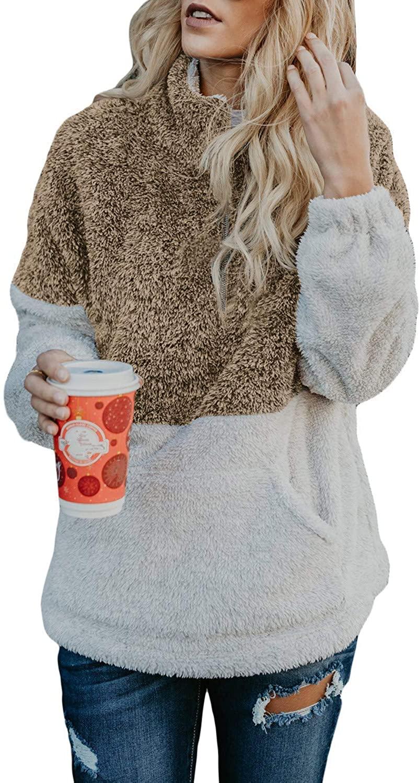 Caitefaso Women Long Sleeve Zip Sweatshirt Fleece Fall Outwear Coat Sherpa Fuzzy Pocket Pullover Jacket