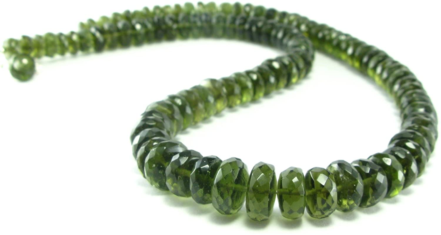 Moldavite Gem Necklace Beads W/Sterling Silver Clasp from Czech Republic - 19
