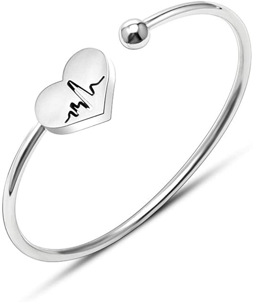 ALoveSoul Nurse Gifts for Women - Heart Beat Stainless Steel Cuff Bracelet Graduation for Nurse Doctor Heartbeat Bracelet