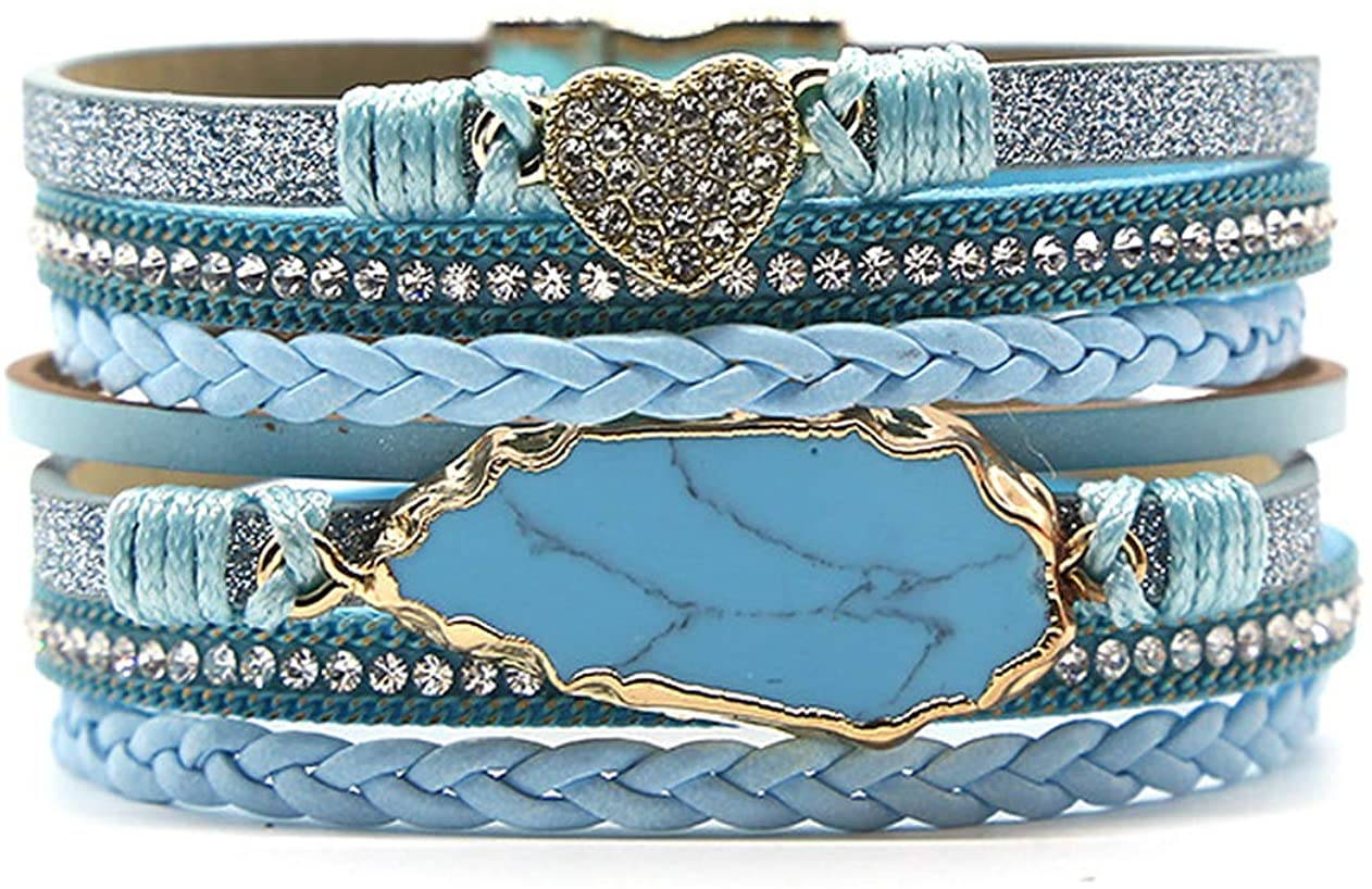 Veeshy Blue Womens Leather Cuff Bracelets with Alloy Magnetic Clasp, Handmade Multi Strands Wrap Bangle Bohemian Jewelry Gift for Sister Mum Prime Aunt Niece Teen Girls with Party Gift Box