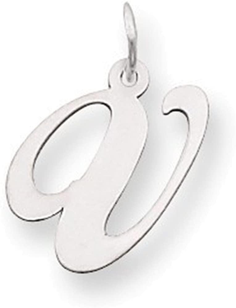 Jewelry Adviser 14k White Gold Medium Fancy Script Initial V Char
