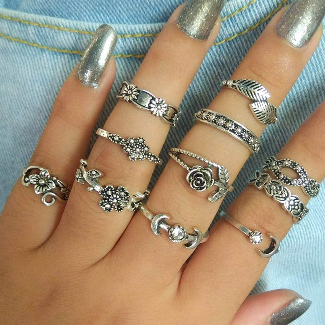 Eollan Boho Rings Set silver Rhinestone Vintage Joint Knuckle Rings Flower Totem Stackable Ring Jewelry for Women and Girls(11PCS)