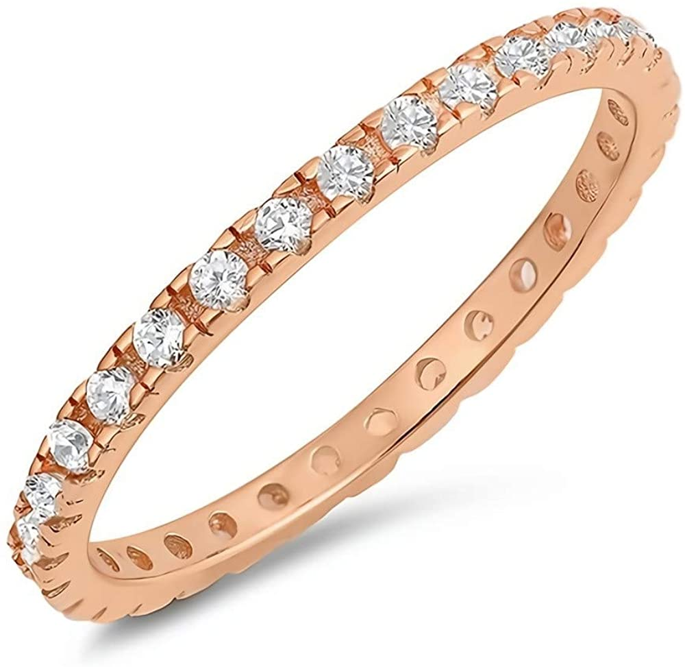 Glitzs Jewels 925 Sterling Silver Stackable Ring (Rose Gold Tone) (Clear CZ) | Jewelry Gift for Women
