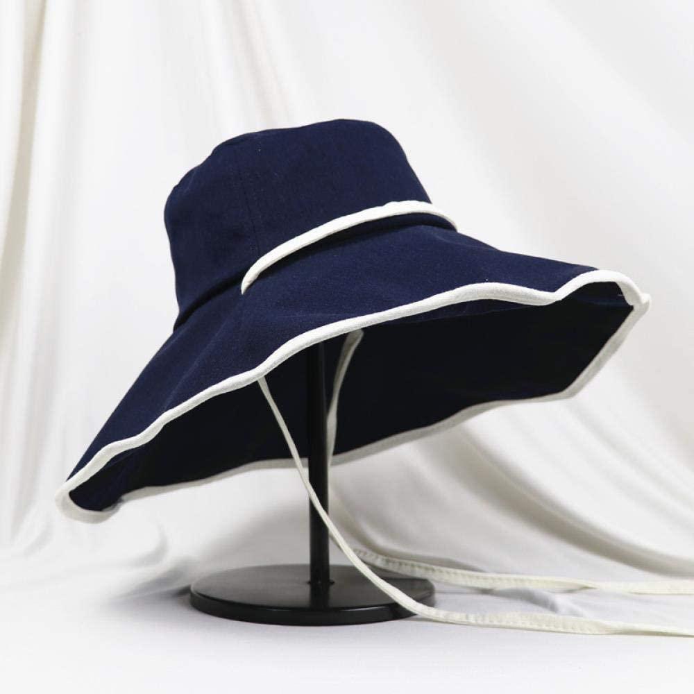 Japanese net red Fisherman hat Female Summer Cap Eaves Ultraviolet Korean Version Baitao Wide Eaves Sun, Sapphire, M (56-58cm)