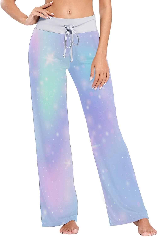 Colorful Universe Banner in Princess Colors Print Womens Sleepwear Loose Palazzo Casual Drawstring Yoga Pants