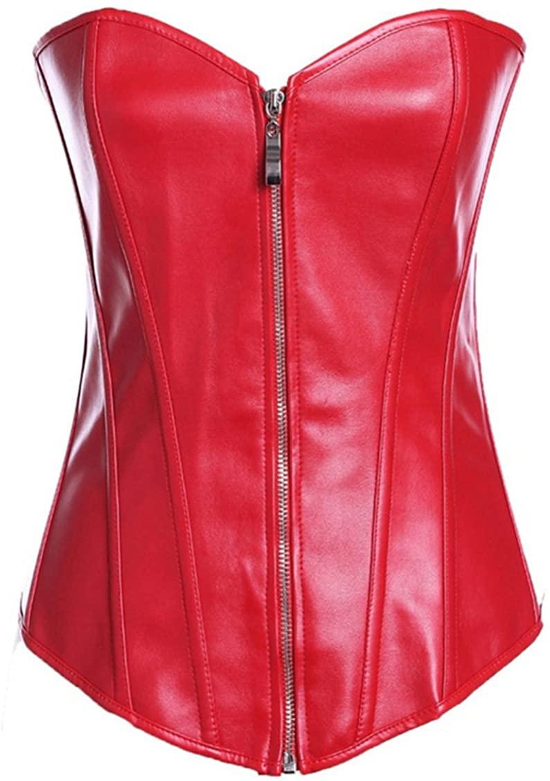 TX-Originality Women's Steampunk Bustier Top Zipper Corset Faux Leather