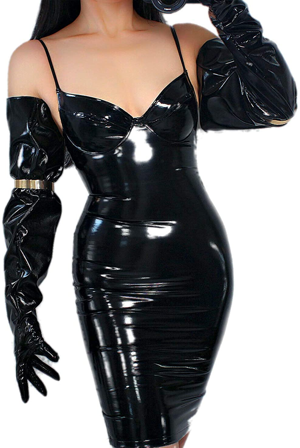 DooWay Unisex Patent Leather Long Gloves PU Shiny Wetlook Oversize Wide Balloon Puff Sleeves Large