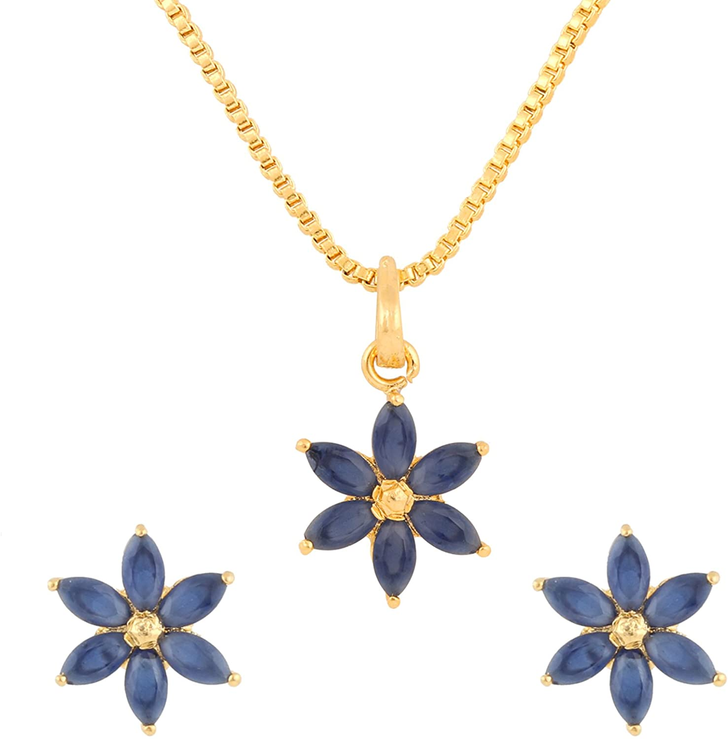 Efulgenz 14K Gold Plated Blue Floral Cubic Zirconia Pendant Necklace and Earrings Jewelry Set for Women Girls Brides Bridesmaids