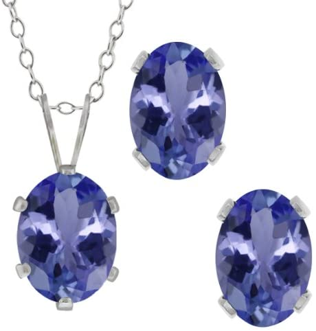 Gem Stone King 2.66 Ct Oval Blue Tanzanite Gemstone Sterling Silver Pendant Earrings Set