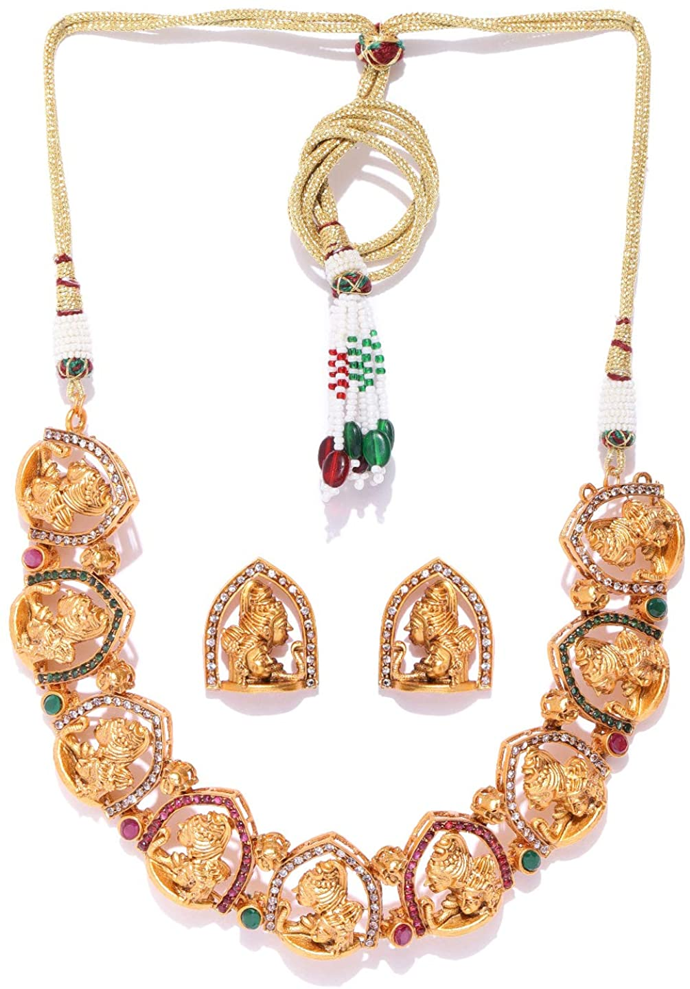 Joyeria Zircon Fashion Indian Traditional Temple Jewelry Style Gold Plated Necklace Set