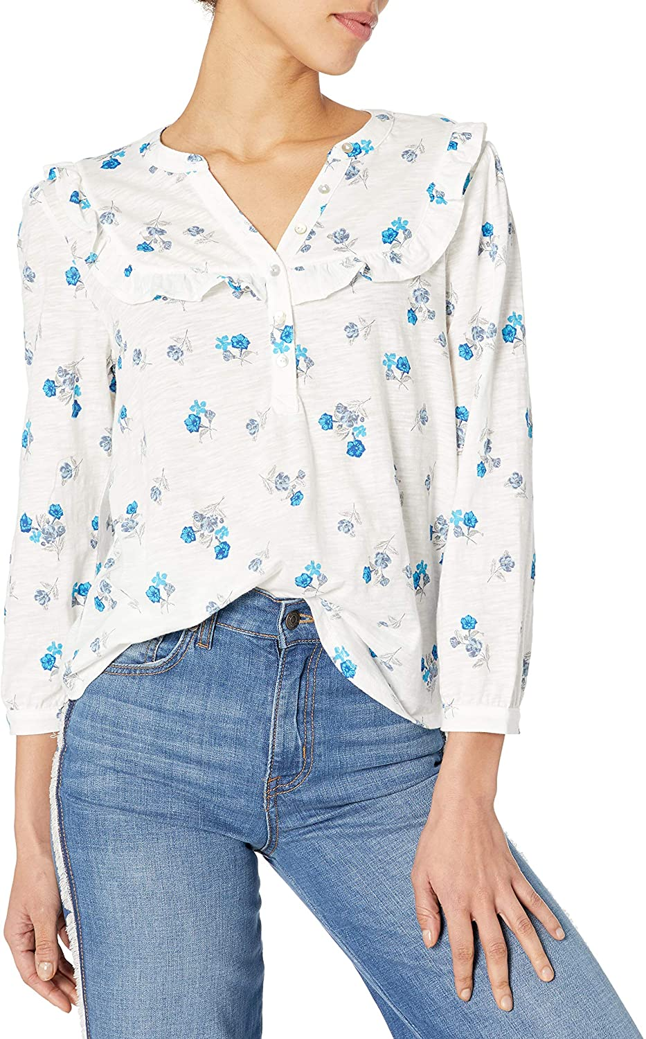 Lucky Brand Women's Long Sleeve V Neck Floral Ruffle Bib-Henley Top