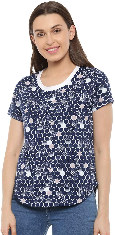 Mystere Paris Honey Bee T-Shirt Cotton Loungewear Casual Women Ladies Blue White A232A