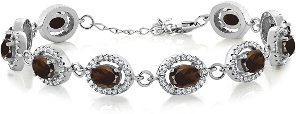 Gem Stone King 10.38 Ct Oval Brown Smoky Quartz 925 Sterling Silver 7.5 inches Bracelet