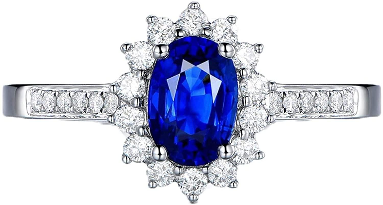 Aokarry Promise Ring Diamond 18K White Gold Oval Sapphire 1.07ct Diamond 0.32ct Ring for Women