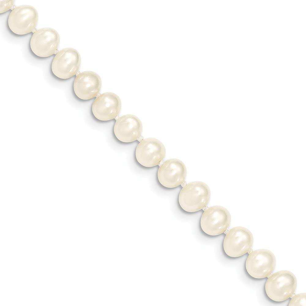 14k Yellow Gold 5-6mm White Near Round Freshwater Cultured Pearl Necklace 14