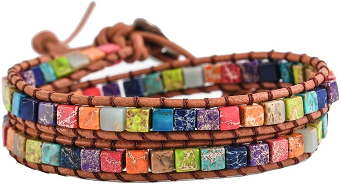 YGLINE Chakra Imperial Jasper Wrap Adjustable Bracelet Boho Bohemian Yoga Leather Weave Bracelets Handmade Chakra Stones Healing Crystals Jewelry for Womens Girls