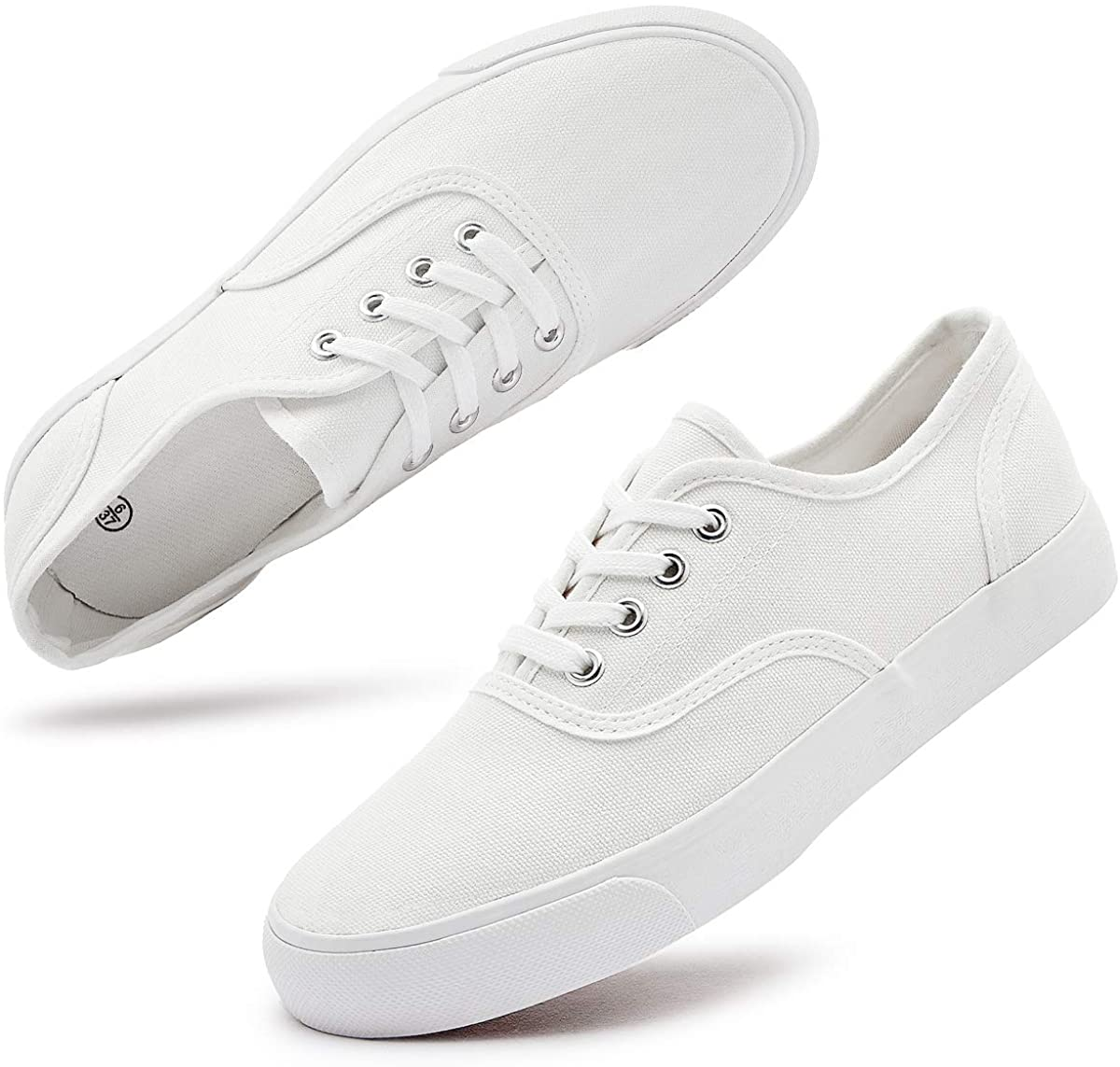Women's White Canvas Shoes Fashion Canvas Sneakers Casual Low top Tennis Shoes Walking