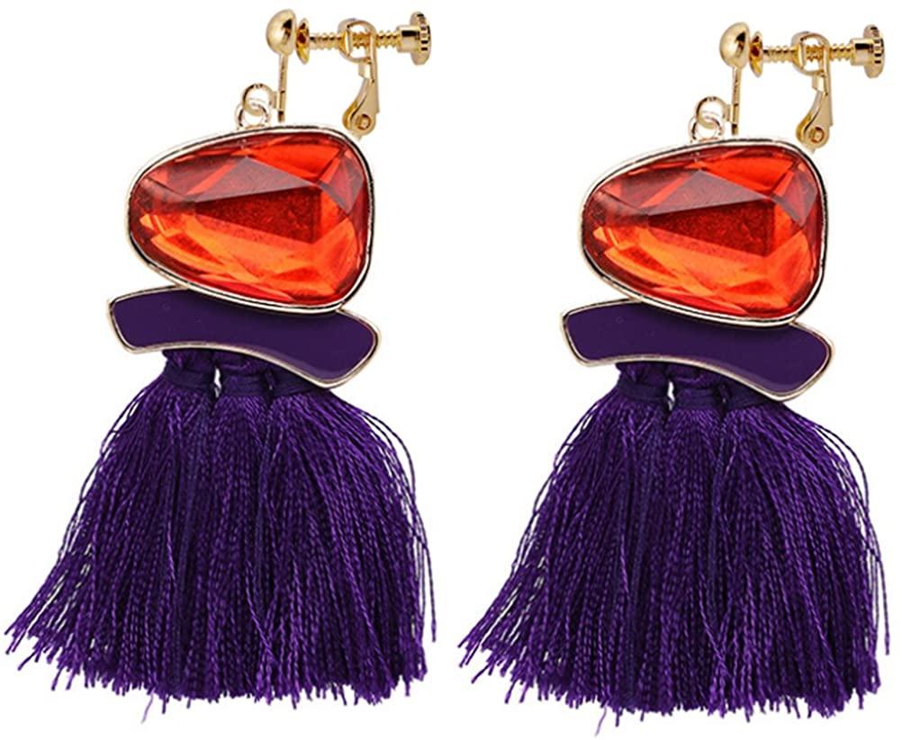 Thread Tassel Clip On Earrings Bohemian Purple Fringe Deco Dangle Drop Fan Stylish Proms Club Gift