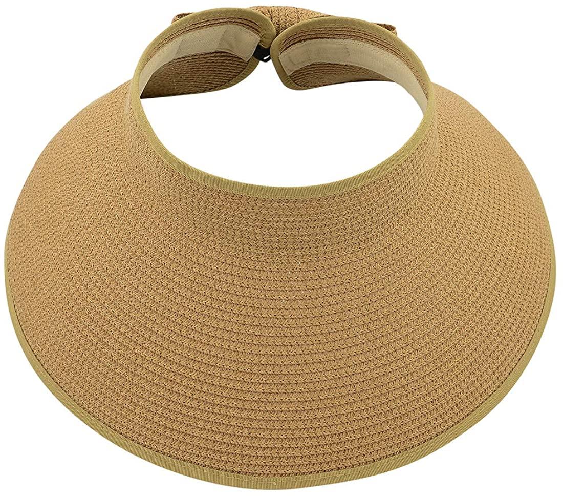 Durio Sun Visors for Womens Summer Straw Visor Hat Wide Brim Beach Sun Hat Bowknot Straw Hats