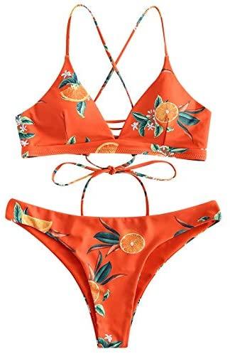 ZAFUL Women's Orange Print Bikini Swimsuit Crossover Two Piece Bikini Set Reversible Swimwear