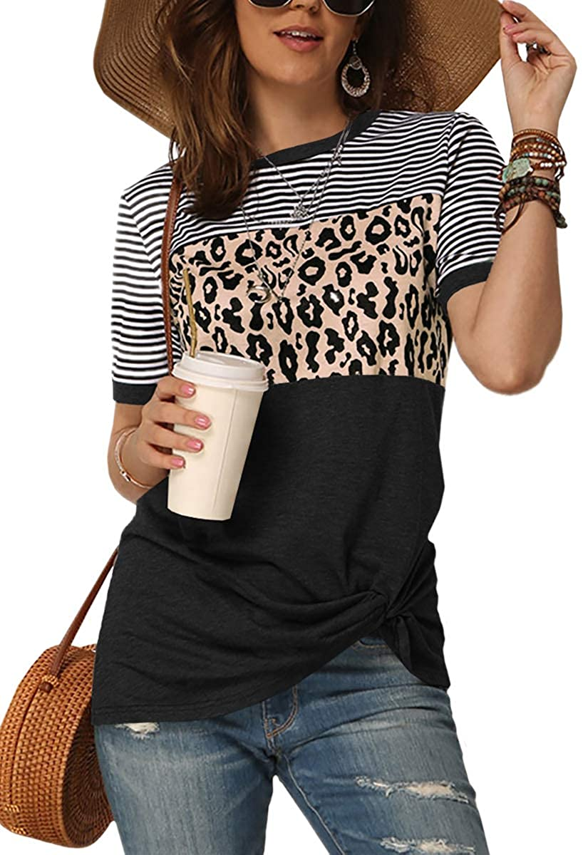 Maisolly Women's Leopard Print Color Block Stripe Patchwork Twist Knot Top