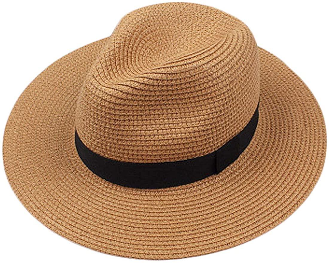 Chalier Sun Hats for Women Wide Brim Fedora Panama Straw Hat Summer Floppy Beach Hat Foldable Cap