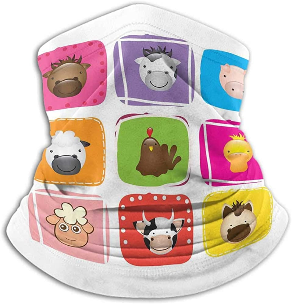 Seamless Face Bandana Baby Headband Neck Gaiter Geometric Pattern with Squares Animal Faces Horse Chicken Cow Duck Sheep and Pig Silver Emerald