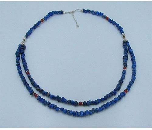 925 Sterling Silver Natural Blue Lapis Nugget Red Coral Necklace MR-1051