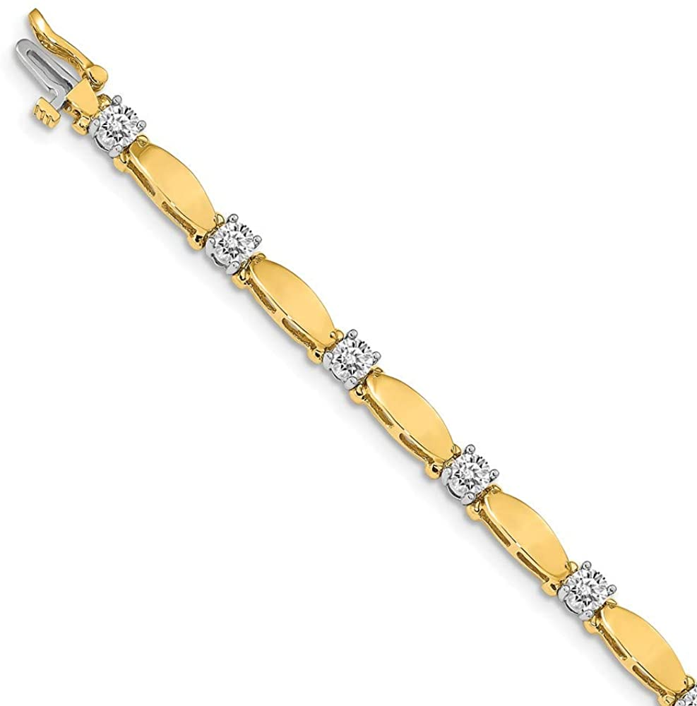 Solid 14k Yellow and White Gold Two Tone 4mm Round Diamond Classic Tennis Bracelet Mounting 7