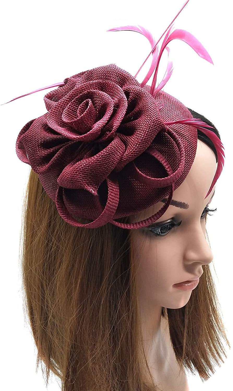 Coolwife Womens Fascinator Hat Sinamay Pillbox Flower Feather Tea Party Derby Wedding Headwear