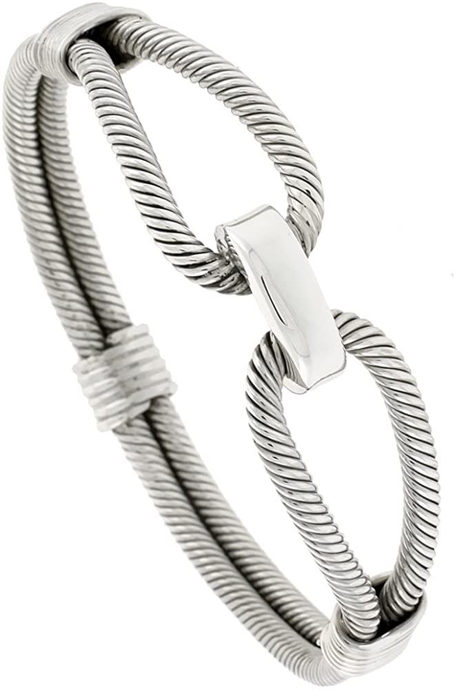 Sterling Silver Spiral-Inspired Bangle-Bracelet, Loops, 9/16 inch