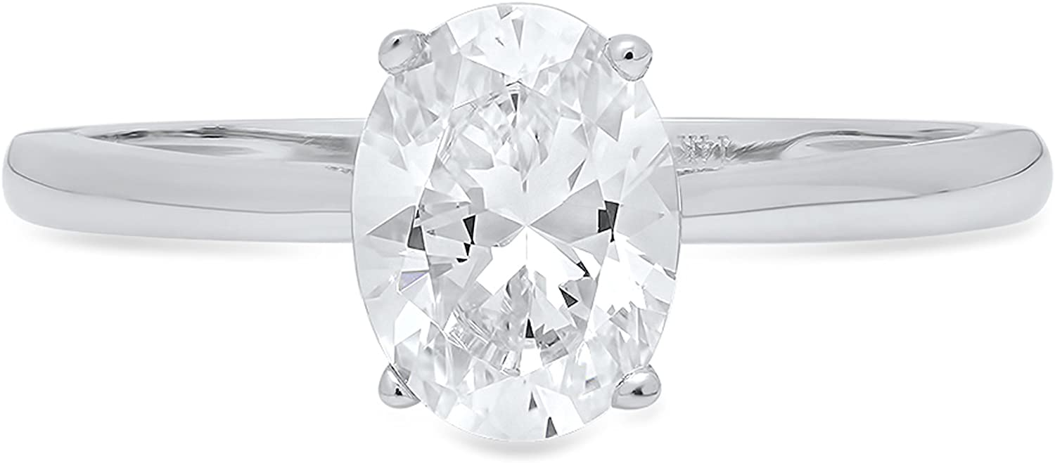 Clara Pucci 1.0 ct Brilliant Oval Cut Simulated Diamond CZ Designer Solitaire Wedding Promise Bridal Ring in Solid 14k White Gold
