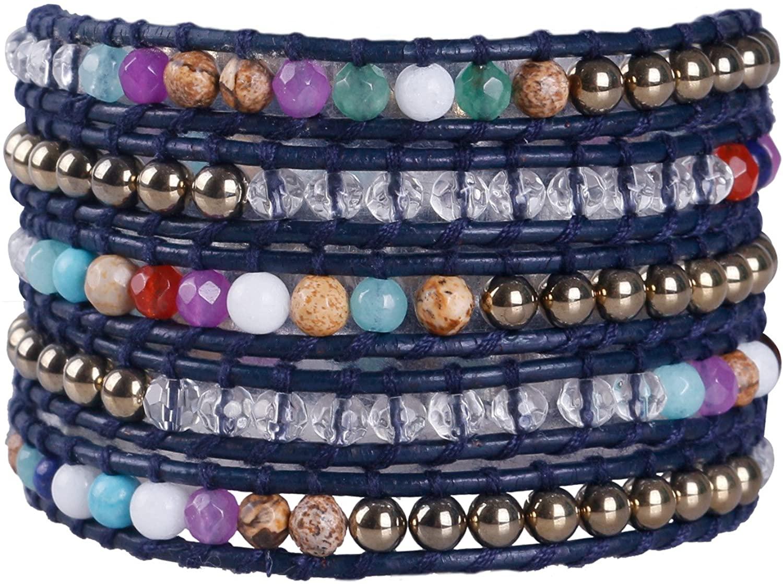 KELITCH Crystal Beaded Bracelet 5 Wrap Leather Hand Chain Handmade Women Jewelry