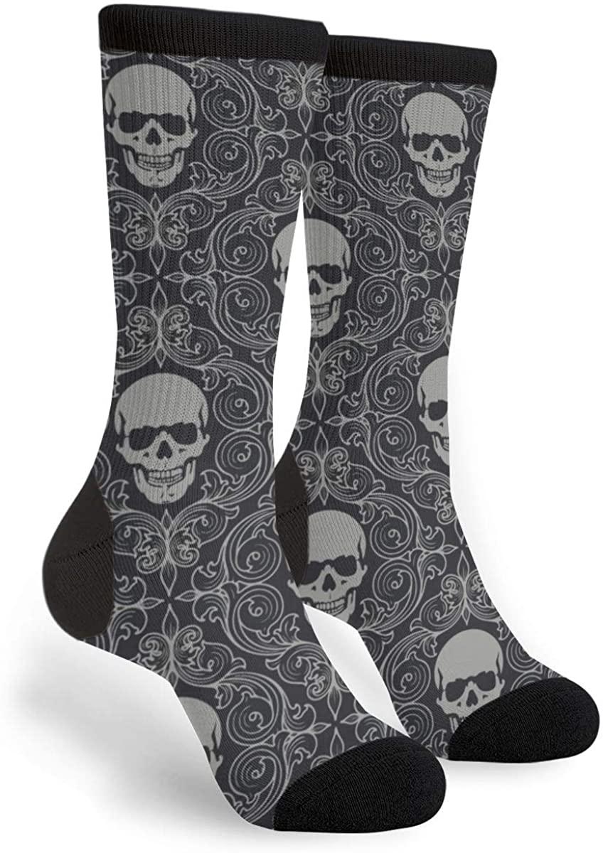 Black And Grey Skull Women'S Men'S Crew Socks Casual Fun Dress Socks Long Cute Socks