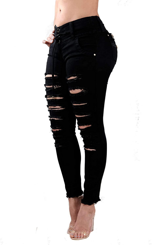 Colombian Made, Premium Denim, Mid Rise Skinny, Butt Lift, Levanta Cola, Black Jeans