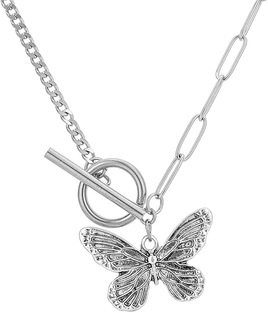 ZNS Oxidized Butterfly Necklace for Women Teen Girl Dainty Stainless Steel Butterfly Pendant Chain Jewelry Inspirational Gift for Friend College Daughter Sister