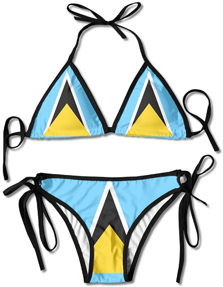 Flag of Saint Lucia Sexy Boxing Bikini Women Halterneck Top and Set Swimsuits Beach Swimming