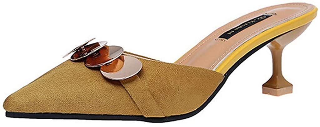 Women's Slip-On Shoes Elegance Pointy Toe Sandals Slip On Low Kitten Heel Bling Office Dress Slide Shoes