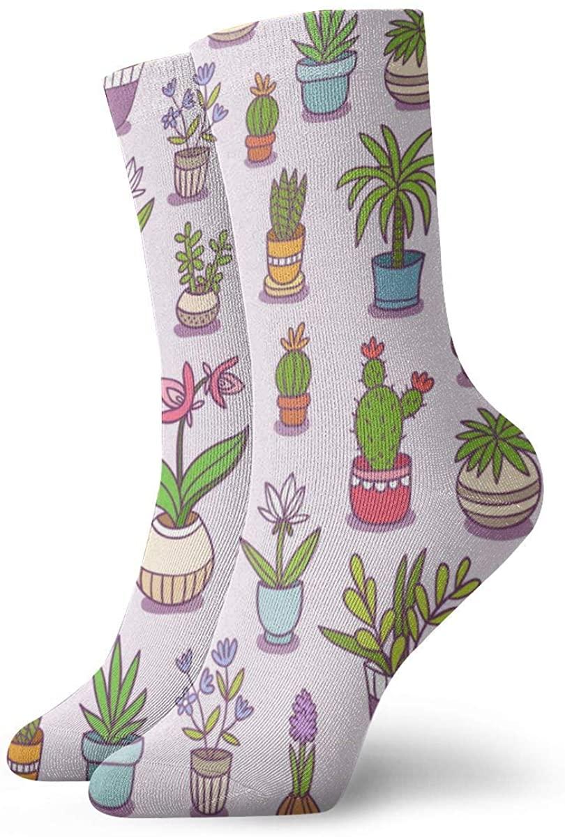 Home Plants Seamless Pattern Womens Crew Socks All Season Soft Cotton Socks